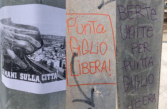 """Fotonotizia – Affissioni sui pali: """"Punta Giglio libera"""". Un danno al movimento?"""