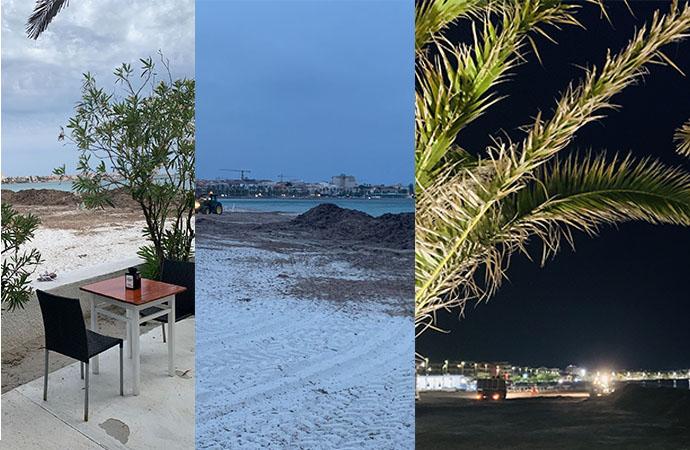 Sea Star il Ristorante sul Lido assediato dalla Posidonia  a pranzo e a cena